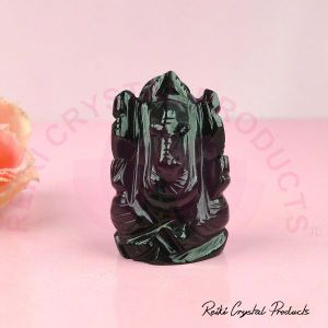 Natural Black Agate Crystal Stone Ganesha Idol