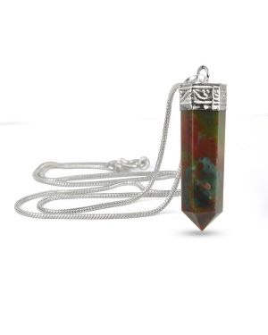 Bloodstone Pencil Pendant With Chain