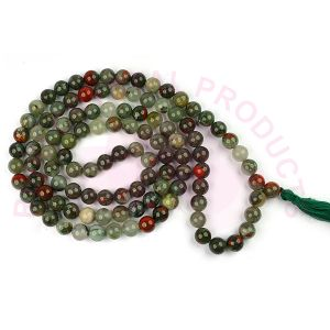 BloodStone 8 mm Round Bead Mala & Necklace (108 Beads & 32 Inch Approx)