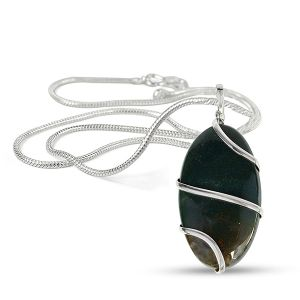 Bloodstone Oval Wire Wrapped Pendant with Silver Polished Chain