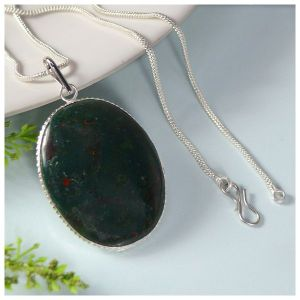 Bloodstone Oval Shape Pendant with Chain
