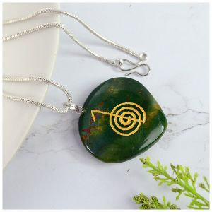 Bloodstone Heart shaped cho ku rei Pendant