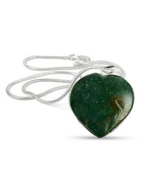 Bloodstone Heart Shape Pendant Size 30-35 mm with Chain