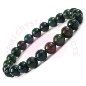 Bloodstone 8 mm Round Bead Bracelet