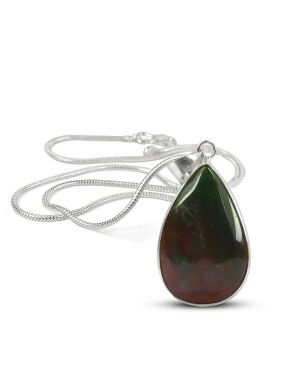 AAA Quality Bloodstone Drop Shape Pendant With Chain