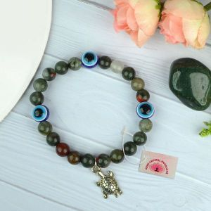 Natural Blood Stone with Evil Eye  8 mm Beads Bracelet