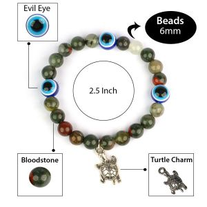 Bloodstone with Evil Eye 8 mm Bead Charm Bracelet