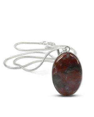 AAA Quality Bloodstone Oval Pendant With Chain