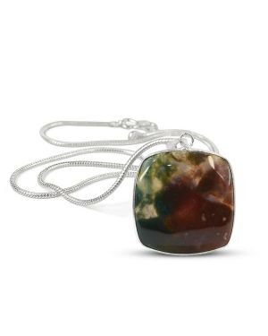 AAA Quality Bloodstone Square Pendant With Silver Polished Metal Chain