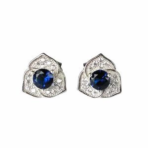 92.5 Sterling Silver Stud Earring Blue Crystal Earrings for Women and Girls