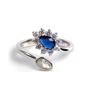 Reiki Crystal Products 925 Sterling Silver Ring Blue Crystal Ring Silver Adjustable Drop Ring for Girls & Women