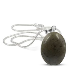 Blue Aventurine Oval Shape Pendant with Metal Silver Polished Chain