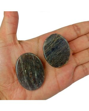 Blue Aventurine Worry -Palm Stone Oval Shape Cabochons Pack of 2 pc