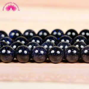 Natural Blue Goldstone 8 mm Crystal Stone Round Loose Beads