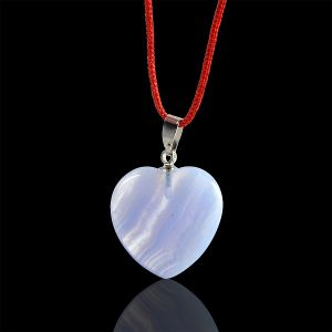 Blue Lace Agate Heart Shape Pendant
