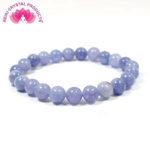 Blue Lace Agate 8 mm Round Bead Bracelet