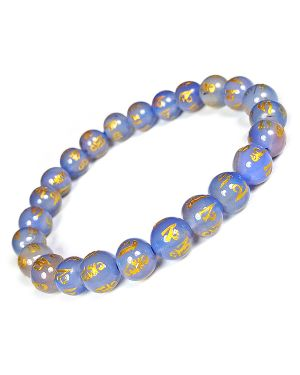 Blue Onyx Om Mani Padme Hum Engraved 8 mm Beads Bracelet