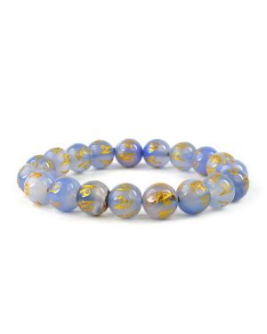 Blue Onyx Om Mani Padme Hum Engraved 10 mm Beads Bracelet