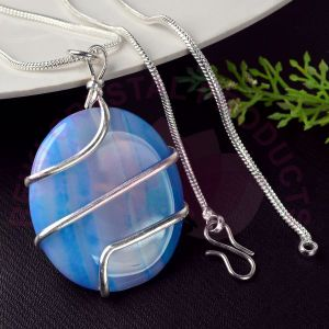 Blue Onyx Oval Wire Wrapped Pendant with Silver Polished Chain