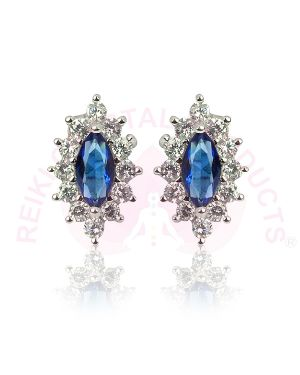 Silver Stud/Earring Blue Color for Women Girls