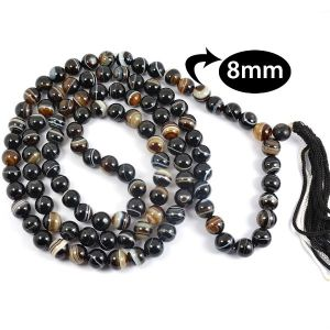 Sulemani/Botswana Agate 8 mm Round Bead Mala & Necklace (108 Beads & 32 Inch Approx)