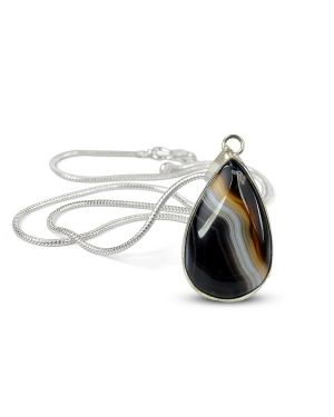 AAA Quality Botswana Agate Drop Shape Pendant With Metal Silver Polished Chain