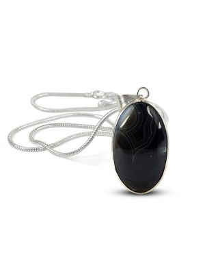 AAA Quality Botswana Agate Oval Pendant With Silver Polished Metal Chain