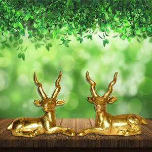 Sitting Brass Deer Statue Showpiece for Home/Office Decor and Gift