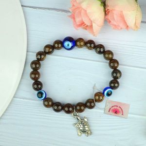 Bronzite with Evil Eye 8 mm Bead Charm Bracelet