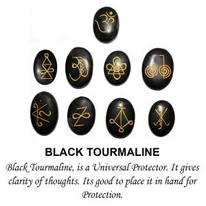Black Tourmaline Karuna Reiki Symbol Engraved Set of 9 pcs