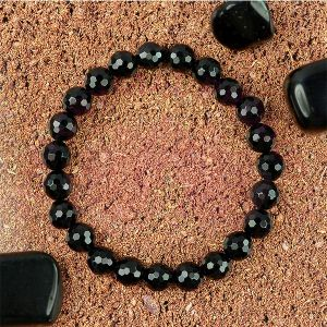 AAA Black Tourmaline 8 mm Faceted Bracelet