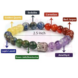 7 Chakra with Buddha Head Bracelet 8 mm