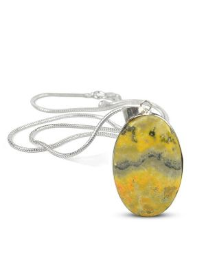 AAA Quality Bumblebee Jasper Oval Pendant With Silver Polished Metal Chain