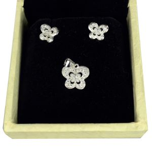 925 Sterling Silver Pendant with Earring Soliter, Crystal Pendant Earring Set for Women Girls