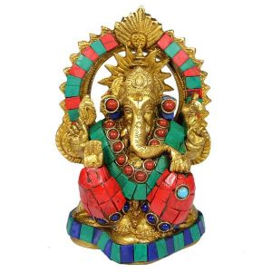 Brass Ganesha with Stone for Home Décor, Gifting, Diwali-900-940 Gram Approx