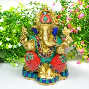 Brass Ganesha with Stone for Home Decor, Gifting, Diwali--1750-1900 Gram Approx