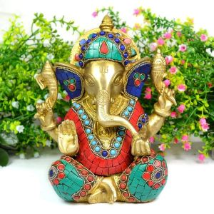 Brass Ganesha with Stone for Home Decor, Gifting, Diwali--3000-3100 Gram Approx