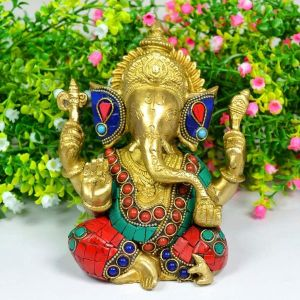 Brass Ganesha with Stone for Home Decor, Gifting, Diwali--1500-1600 Gram Approx