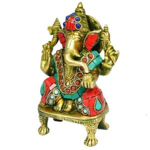 Brass Ganesha with Stone for Home Decor, Gifting, Diwali--850-950 Gram Approx