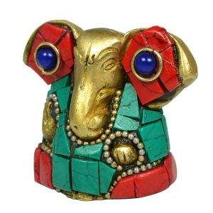 Brass Ganesha with Stone for Home Decor, Gifting, Diwali--90-120 Gram Approx
