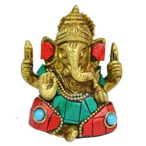 Brass Ganesha with Stone for Home Decor, Gifting, Diwali--190-220 Gram Approx