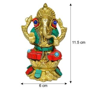 Brass Ganesha with Stone for Home Decor, Gifting, Diwali--700-800 Gram Approx