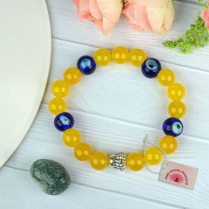Natural Calcite with Evil Eye 10 mm Beads Charm Bracelet