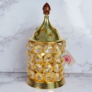 Brass Akhand Jyot Diya with Decorative Crystals Oil Lamp Lantern for Diwali, Puja and Festival