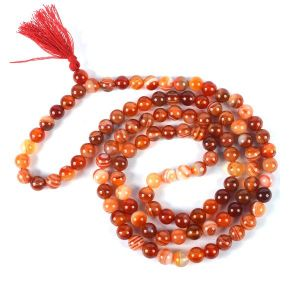 Carnelian 8 mm Round Bead Mala & Necklace (108 Beads & 32 Inch Approx)