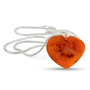 Carnelian Shape Pendant - Size 25-30mm with Metal Silver Polished Chain