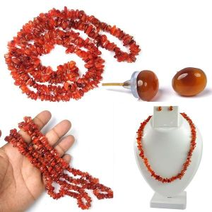 Carnelian  Natural Crystal Stone Chip Mala with Earring Set for Reiki Healing & Crystal Healing