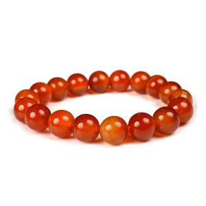 Reiki Crystal Products Carnelian Bracelet 12 mm Beads Reiki Healing and Crystal Healing Stone Bracelet (Color : Red & Orange)