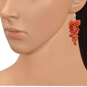 Carnelian Crystal Earrings Natural Chip Beads Earrings for Women, Girls (Color :Orange )