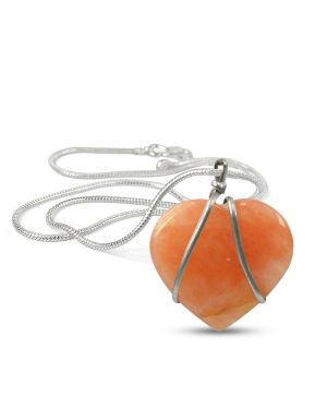 Carnelian Heart Wire Wrapped Pendant With Silver Metal Polished Chain